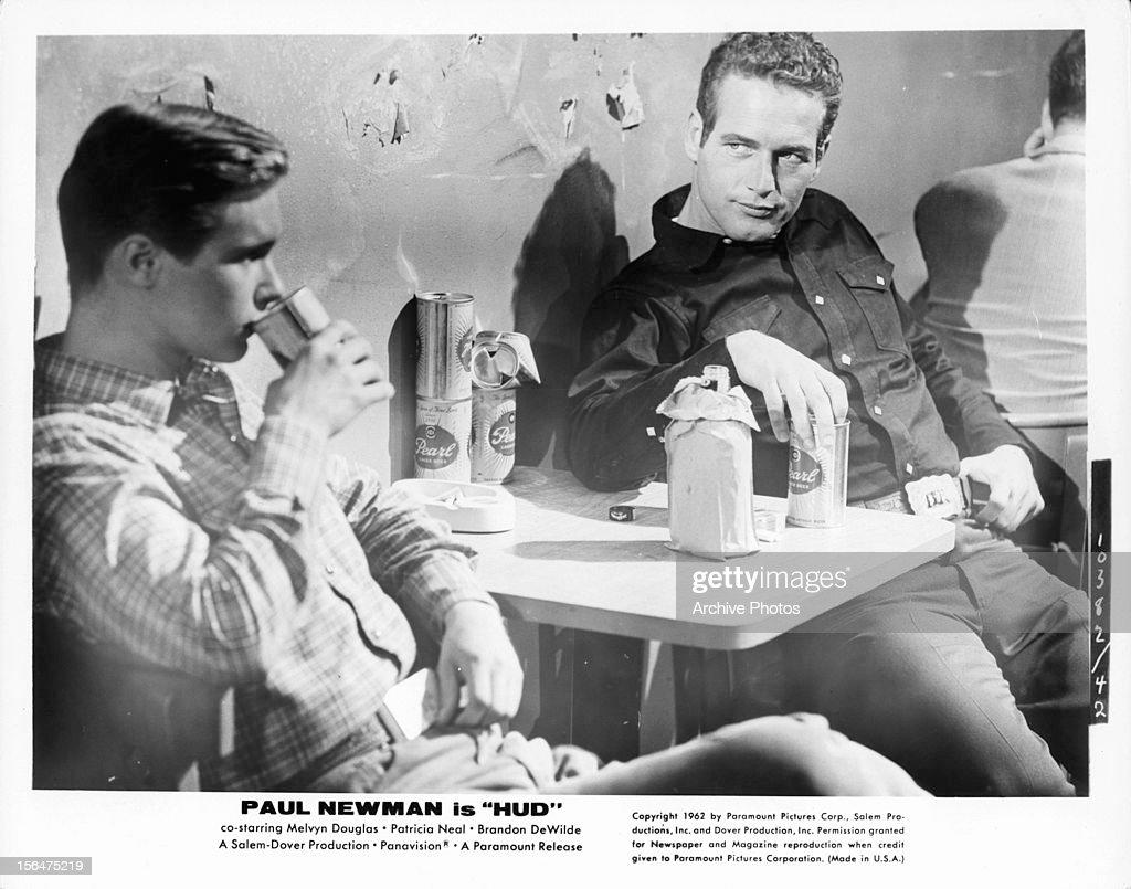 Brandon De Wilde And Paul Newman In 'Hud' : News Photo