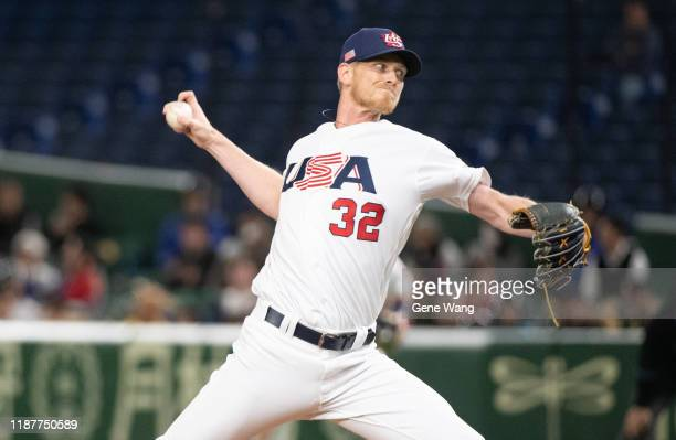 Brandon Dickson of Team USA pitch during the WBSC Premier 12 Super Round game between USA and Chinese Taipei at the Tokyo Dome on November 15 2019 in...