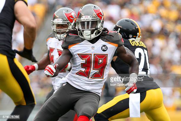 Brandon Dixon of the Buccaneers during the game between the visiting Tampa Bay Buccaneers and the home town Pittsburgh Steelers at Heinz Field in...