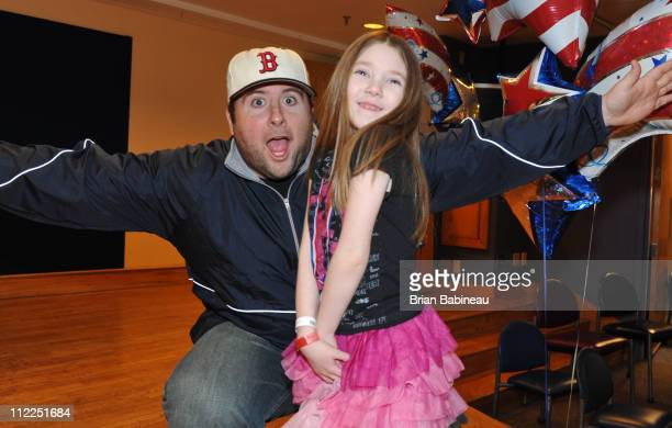 Brandon Donovan poses with Annabell at a special marathon celebration at Children's Hospital Boston on April 15 2011 in Boston Massachusetts