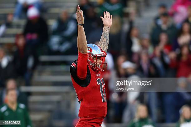 Brandon Doughty of the Western Kentucky Hilltoppers celebrates during the game against the UAB Blazers at Houchens IndustriesLT Smith Stadium on...
