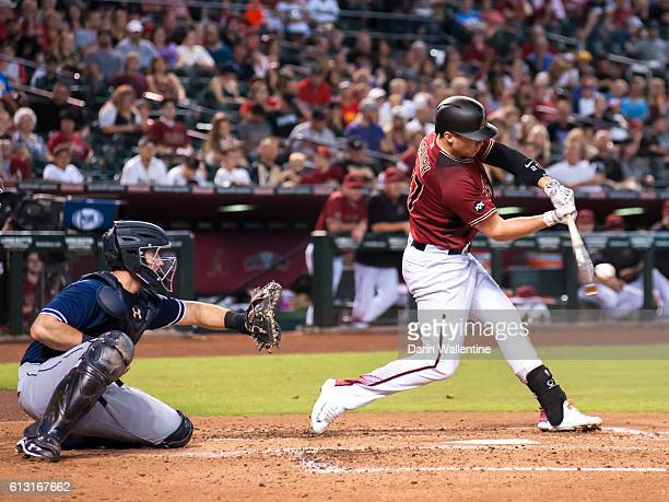 Brandon Drury of the Arizona Diamondbacks flies out to right field in the third inning of the MLB against the San Diego Padres at Chase Field on...