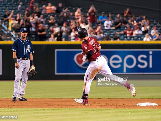 Brandon Drury of the Arizona Diamondbacks rounds the bases after a home run to right field against the San Diego Padres in the eighth inning of the...