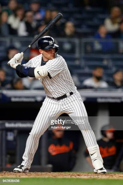 Brandon Drury of the New York Yankees at bat against the Baltimore Orioles during the second inning at Yankee Stadium on April 6 2018 in the Bronx...