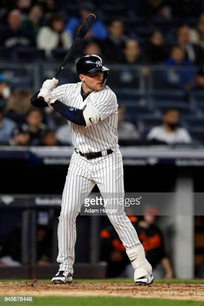 Brandon Drury of the New York Yankees at bat against the Baltimore Orioles during the fourth inning at Yankee Stadium on April 6 2018 in the Bronx...