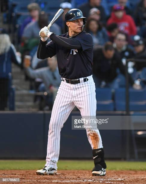 Brandon Drury of the New York Yankees bats during the spring training against the at George M Steinbrenner Field on March 12 2018 in Tampa Florida