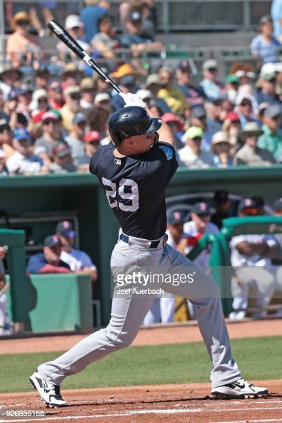 Brandon Drury of the New York Yankees hits a double against the Boston Red Sox during a spring training game at JetBlue Park on March 3, 2018 in Fort...
