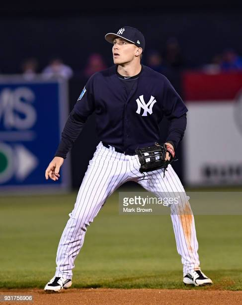 Brandon Drury of the New York Yankees in action during the spring training against the at George M Steinbrenner Field on March 12 2018 in Tampa...