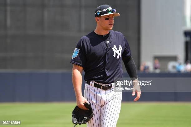 Brandon Drury of the New York Yankees in action during the spring training game between the New York Yankees and the Miami Marlins at George M...