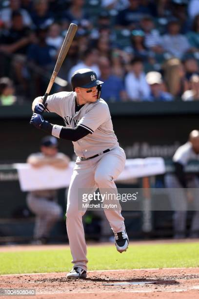 Brandon Drury of the New York Yankees prepares for a pitch during game one of a doubleheader baseball game against the Baltimore Orioles at Oriole...