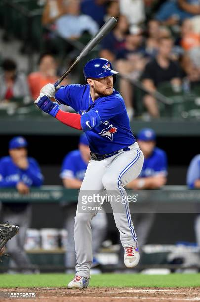 Brandon Drury of the Toronto Blue Jays bats against the Baltimore Orioles at Oriole Park at Camden Yards on June 11, 2019 in Baltimore, Maryland.