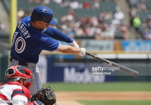 Brandon Drury of the Toronto Blue Jays bats against the Chicago White Sox at Guaranteed Rate Field on July 29 2018 in Chicago Illinois The Blue Jays...