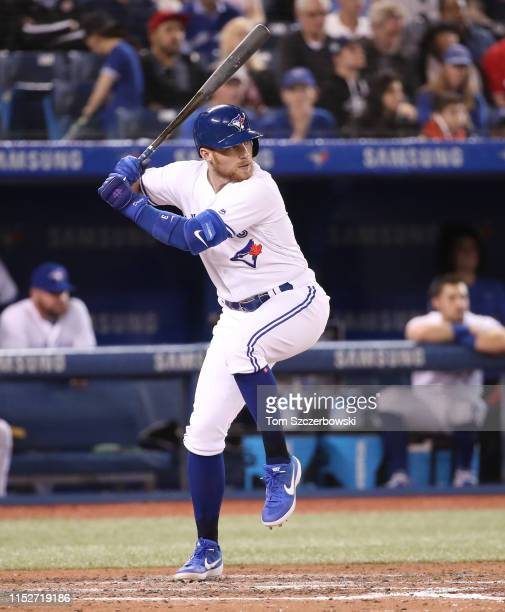 Brandon Drury of the Toronto Blue Jays bats in the sixth inning during MLB game action against the Boston Red Sox at Rogers Centre on May 21, 2019 in...