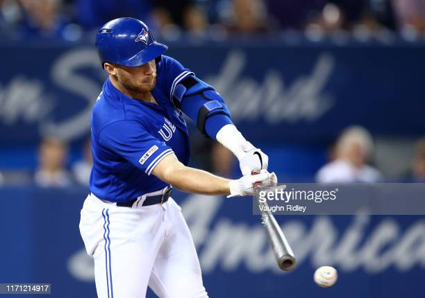 Brandon Drury of the Toronto Blue Jays grounds out in the fourth inning during a MLB game against the Baltimore Orioles at Rogers Centre on September...