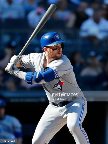 Brandon Drury of the Toronto Blue Jays in action against the New York Yankees at Yankee Stadium on September 21, 2019 in New York City. The Yankees...