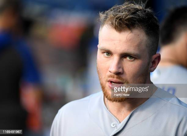 Brandon Drury of the Toronto Blue Jays in the dugout before the game against the Los Angeles Dodgers at Dodger Stadium on August 21, 2019 in Los...