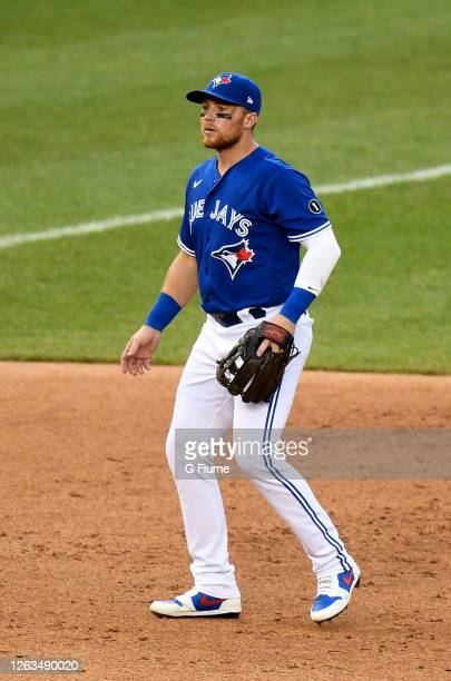 Brandon Drury of the Toronto Blue Jays plays third base against the Washington Nationals at Nationals Park on July 30, 2020 in Washington, DC, United...