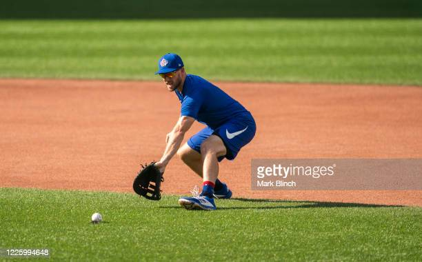 Brandon Drury of the Toronto Blue Jays takes grounders at Rogers Centre on July 9, 2020 in Toronto, Canada.