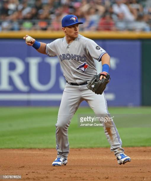 Brandon Drury of the Toronto Blue Jays throws to first base against the Chicago White Sox at Guaranteed Rate Field on July 28 2018 in Chicago...