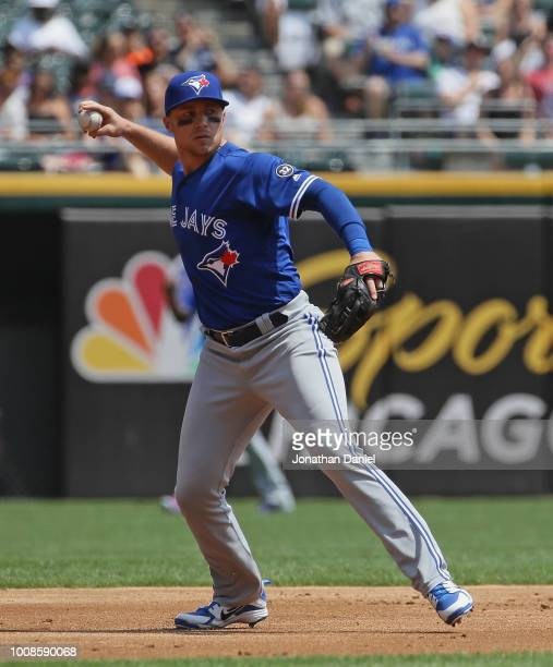 Brandon Drury of the Toronto Blue Jays throws to first base against the Chicago White Sox at Guaranteed Rate Field on July 29, 2018 in Chicago,...