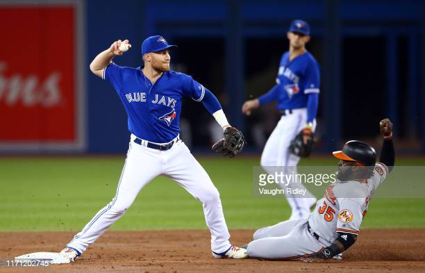 Brandon Drury of the Toronto Blue Jays throws to first base and turns a double play, Dwight Smith Jr. #35 of the Baltimore Orioles is out at second...