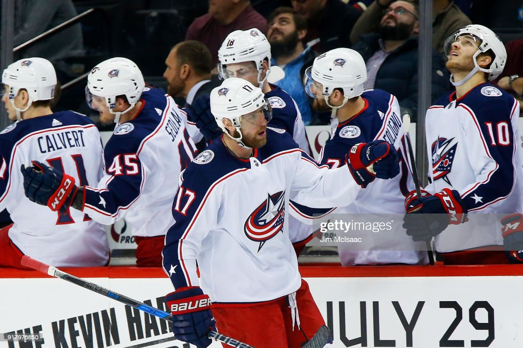 Brandon Dubinsky #17 of the Columbus Blue Jackets celebrates his third-period goal during a 4-1 win against the New York Islanders at Barclays Center on February 13, 2018 in New York City.