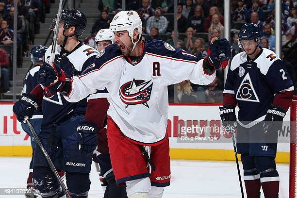Brandon Dubinsky of the Columbus Blue Jackets celebrates his goal against the Colorado Avalanche to take a 43 lead in the third period at Pepsi...