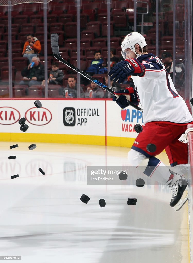 Brandon Dubinsky #17 of the Columbus Blue Jackets enters the ice surface for warmups prior to his game against the Philadelphia Flyers on March 15, 2018 at the Wells Fargo Center in Philadelphia, Pennsylvania.
