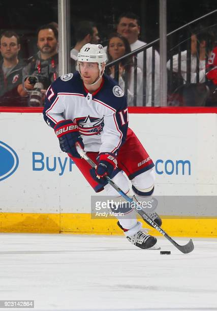 Brandon Dubinsky of the Columbus Blue Jackets plays the puck during the game against the New Jersey Devils at Prudential Center on February 20 2018...