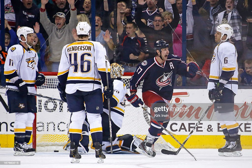 Brandon Dubinsky #17 of the Columbus Blue Jackets reacts after Jack Johnson #7 of the Columbus Blue Jackets scored the game-winning goal against the Nashville Predators during the third period on April 27, 2013 at Nationwide Arena in Columbus, Ohio. Columbus defeated Nashville 3-1.