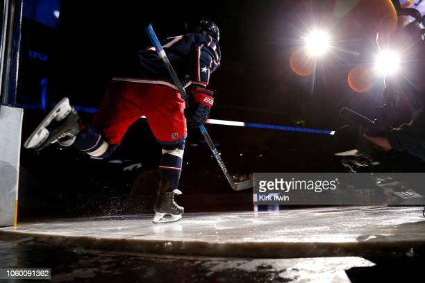 Brandon Dubinsky of the Columbus Blue Jackets skates onto the ice prior to the start of the game against the New York Rangers on November 10 2018 at...