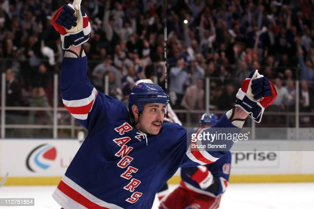 Brandon Dubinsky of the New York Rangers celebrates after he scored a goal in the second period against the Washington Capitals in Game Four of the...