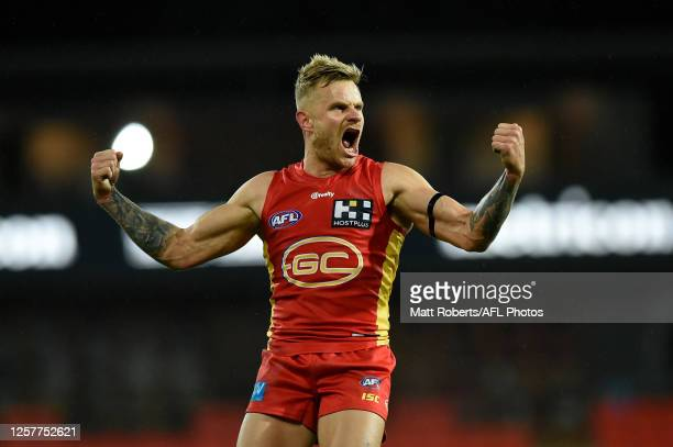 Brandon Ellis of Gold Coast Suns celebrates kicking a goal during the round 8 AFL match between the Gold Coast Suns and Western Bulldogs at Metricon...