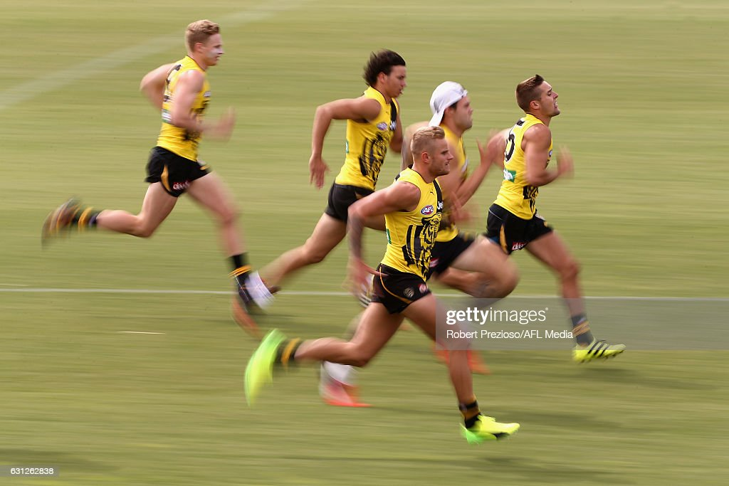 Brandon Ellis runs during a Richmond Tigers AFL training session at ME Bank Centre on January 9, 2017 in Melbourne, Australia.