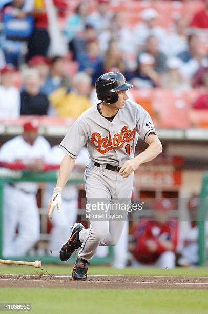 Brandon Fahey of the Baltimore Orioles takes a swing during a game against the Washington Nationals on May 20 2006 at RFK Stadium in Washington DC...