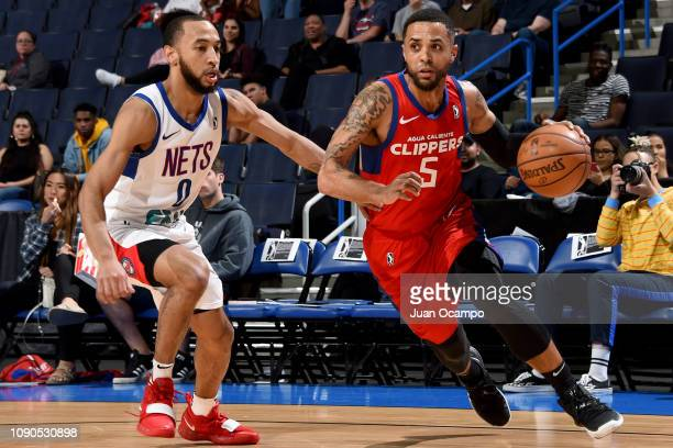 Brandon Fields of the Agua Caliente Clippers of Ontario drives the baseline against Jordan McLaughlin of the Long Island Nets on January 27 2019 at...