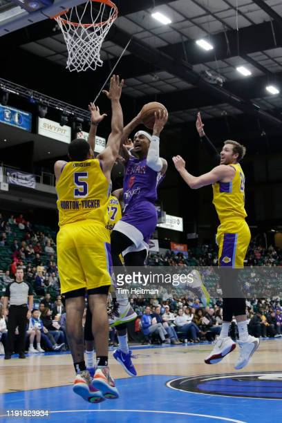 Brandon Fields of the Texas Legends drives on Talen Horton-Tucker of the South Bay Lakers during the third quarter on January 04, 2020 at Comerica...