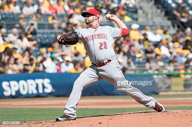 Brandon Finnegan of the Cincinnati Reds delivers a pitch in the second inning during the game against the Pittsburgh Pirates at PNC Park on September...