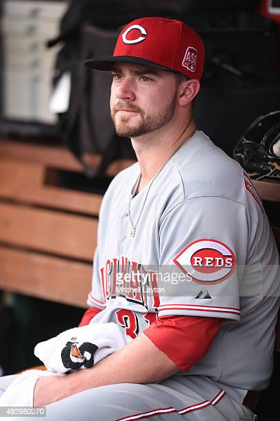 Brandon Finnegan of the Cincinnati Reds looks on during a baseball game against the Washington Nationals at Nationals Park on September 28 2015 in...