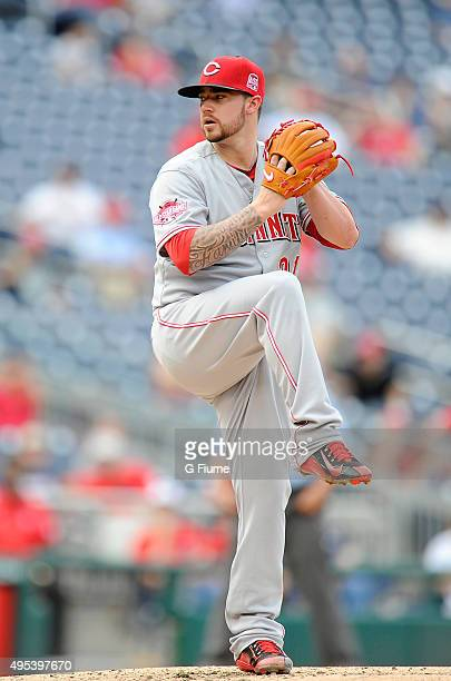 Brandon Finnegan of the Cincinnati Reds pitches against the Washington Nationals at Nationals Park on September 28 2015 in Washington DC
