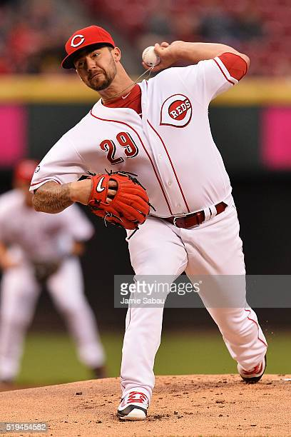 Brandon Finnegan of the Cincinnati Reds pitches against the Philadelphia Phillies in the first inning at Great American Ball Park on April 6 2016 in...