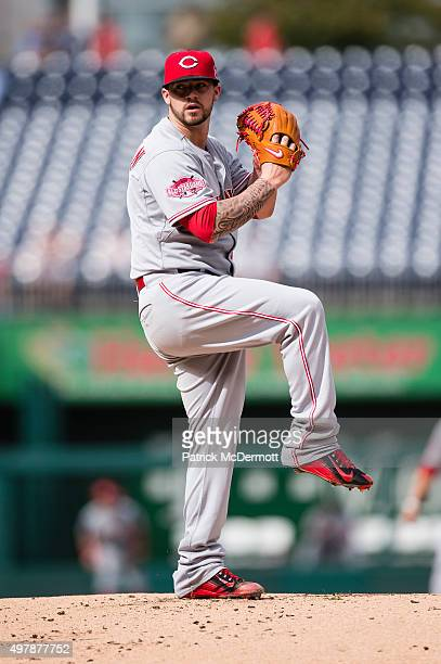 Brandon Finnegan of the Cincinnati Reds pitches during a baseball game against the Washington Nationals at Nationals Park on September 28 2015 in...