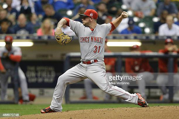 Brandon Finnegan of the Cincinnati Reds pitches during the fourth inning against the Milwaukee Brewers at Miller Park on September 18 2015 in...