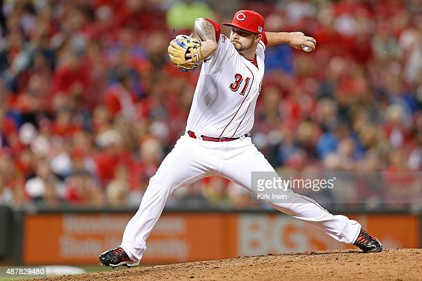 Brandon Finnegan of the Cincinnati Reds pitches during the sixth inning of the game against the St Louis Cardinals at Great American Ball Park on...
