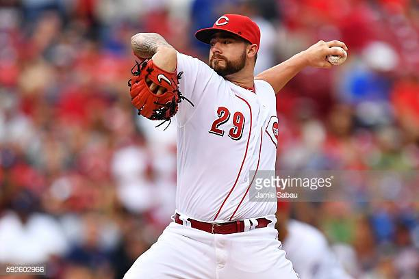 Brandon Finnegan of the Cincinnati Reds pitches in the first inning against the Los Angeles Dodgers at Great American Ball Park on August 20 2016 in...