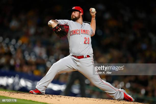 Brandon Finnegan of the Cincinnati Reds pitches in the second inning against the Pittsburgh Pirates at PNC Park on April 10 2017 in Pittsburgh...