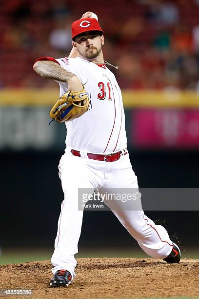 Brandon Finnegan of the Cincinnati Reds throws a pitch during the game against the St Louis Cardinals at Great American Ball Park on September 11...