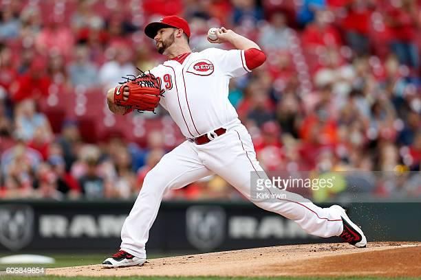 Brandon Finnegan of the Cincinnati Reds throws a pitch during the game against the Pittsburgh Pirates at Great American Ball Park on September 17...