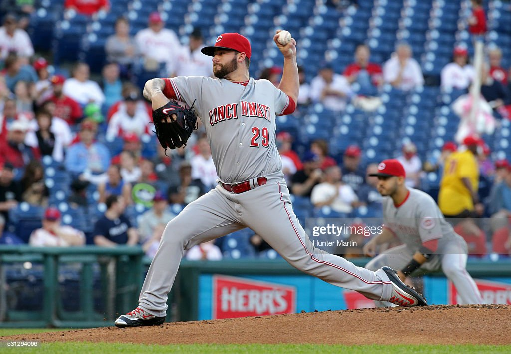 Brandon Finnegan #29 of the Cincinnati Reds throws a pitch in the first inning during a game against the Philadelphia Phillies at Citizens Bank Park on May 13, 2016 in Philadelphia, Pennsylvania.