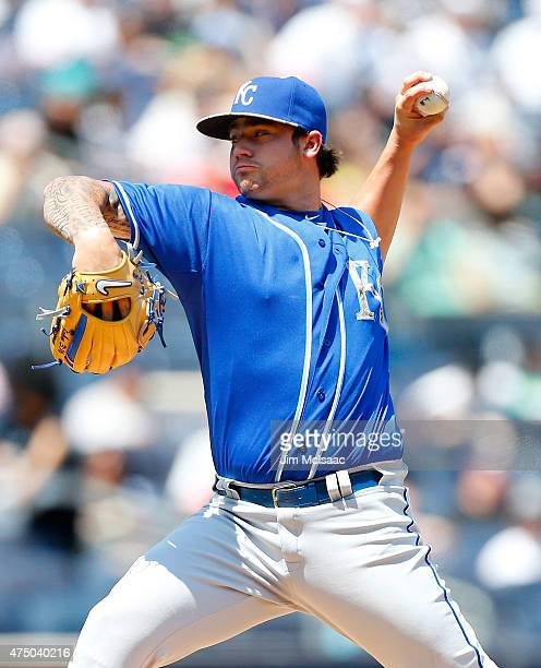 Brandon Finnegan of the Kansas City Royals in action against the New York Yankees at Yankee Stadium on May 25 2015 in the Bronx borough of New York...